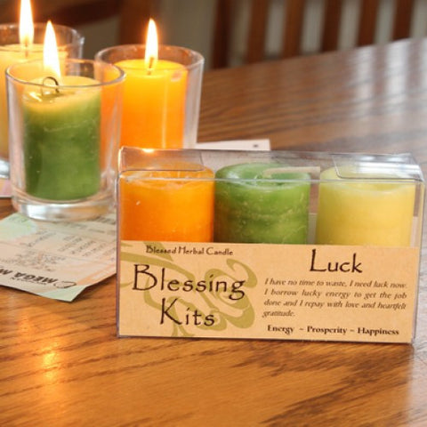 Reiki Charged  Hand  Poured Essential Oil Infused  Luck Candle Blessing Kit