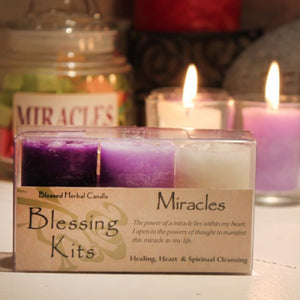 Reiki Charged Hand Poured Essential Oil Infused Miracle Votive  Candle Blessing Kit