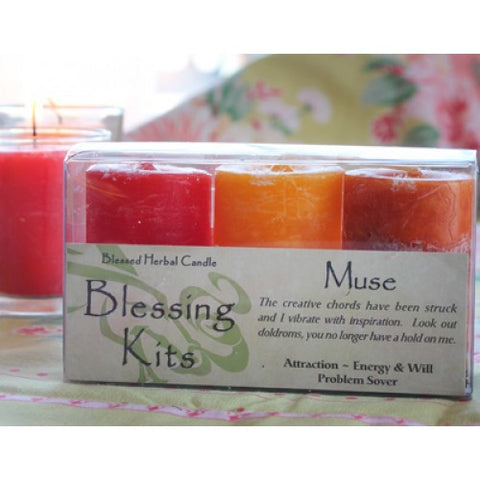 Reiki Charged Hand Poured Essential Oil  Infused Muse  Votive Candle Blessing Kit
