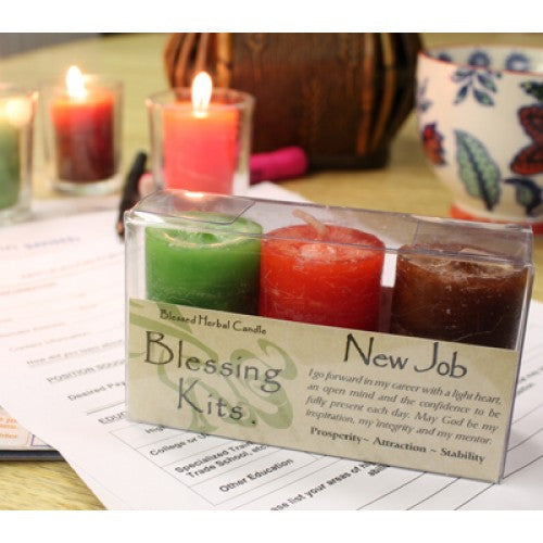 Reiki Charged Hand Poured Essential Oil Infused   New Job Votive Candle  Blessing Kit