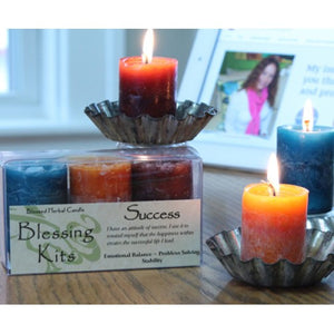 ReiReiki Charged Hand Poured Essential Oil Infused  Success Votive Candle Blessing Kit