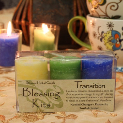 Reiki Charged Hand Poured Essential Oil Infused  Transition Votive Candle Blessing Kit