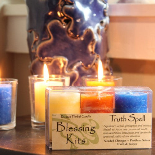 Reiki Charged Hand Poured Essential Oil  Infused Truth Votive Candle Blessing Kit