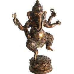 Brass or Bronze Statue Handcrafted Dancing Ganesha