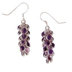Amythyst Grape Cluster Sterling Silver Earrings