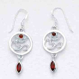 Garnet and Sterling OM Earrings - Sterling Silver Earrings