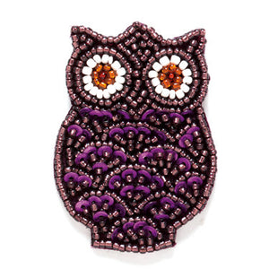 Purple Beaded Owl Magnet