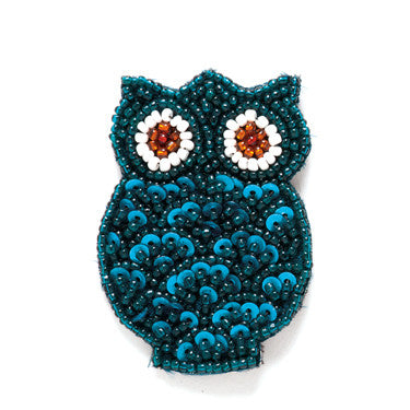 Turquoise Beaded Owl Magnet