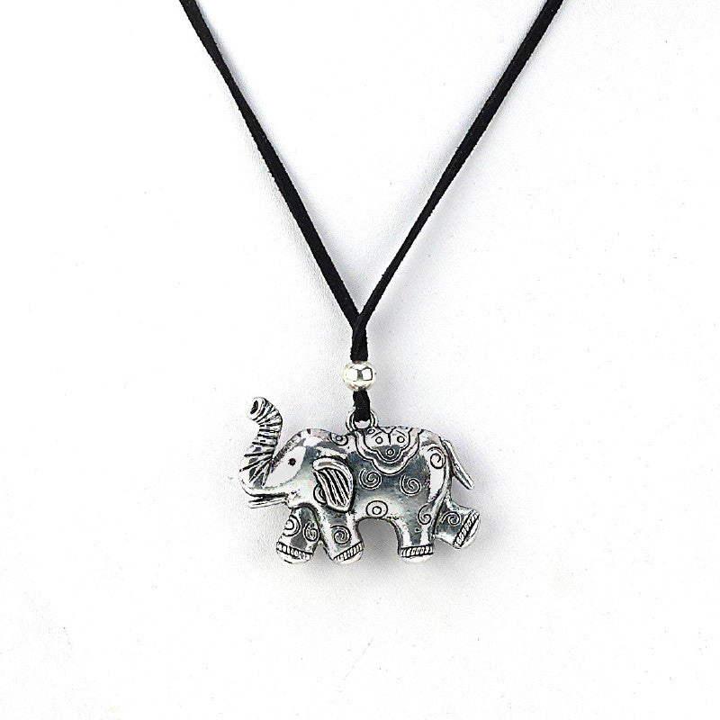 Elephant Metal Pendant Necklace