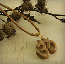 Necklace Handmade OM Wooden Necklace
