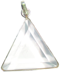 Clear Crystal Quartz Gemstone Vogel Triangle Pendant