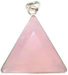 Rose Quartz  Crystal Vogel Triangle Pendant