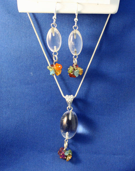 Quartz Crystal Gemstone and Sterling Silver Chakra Necklace & Earrings