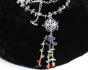 Crystal  Gemstone Chakra Dangle Necklace with Wish Cage