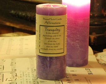 Reiki Charged Hand Poured Essential Oil Infused Tranquility Affirmation Candle