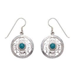 Mandala Design Hand Carved with Turquoise Sterling Silver Earrings