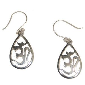 OM Hand Carved Sterling Silver Teardrop Earrings