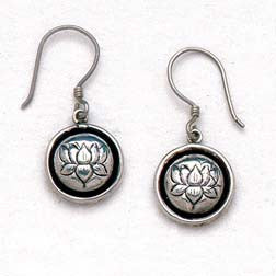 Petite Lotus Flower  Hand Carved Sterling Silver Earrings
