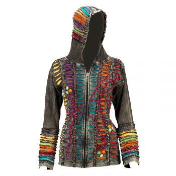 Razor Cut Multi Colored Handmade  Hooded Women's Jacket