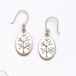 Tree of Life Sterling Silver Hand Carved Earrings