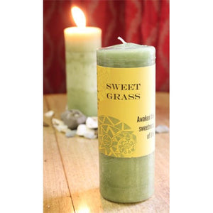 Candle-Sweet Grass Reiki Charged Hand Poured Essential Oil World Magic Candle