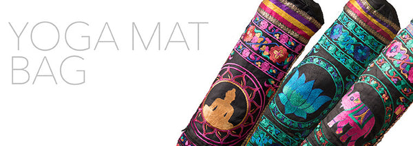 Embroidered Exquisite Hand Made Yoga Mat Bag Sarong -Cream Colors
