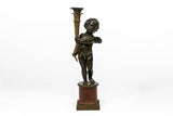 A MAGNIFICENT PAIR OF 19TH CENTURY BRONZE LAMPS - REF No. 1021