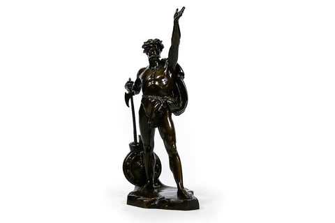 A 19TH CENTURY BRONZE OF CARACTACUS BY J.A. HATFIELD - REF No. 1058