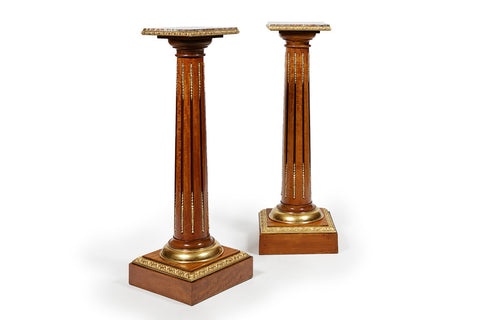 A SUPERB PAIR OF 19TH CENTURY SATINWOOD PEDESTALS - REF No. 1020