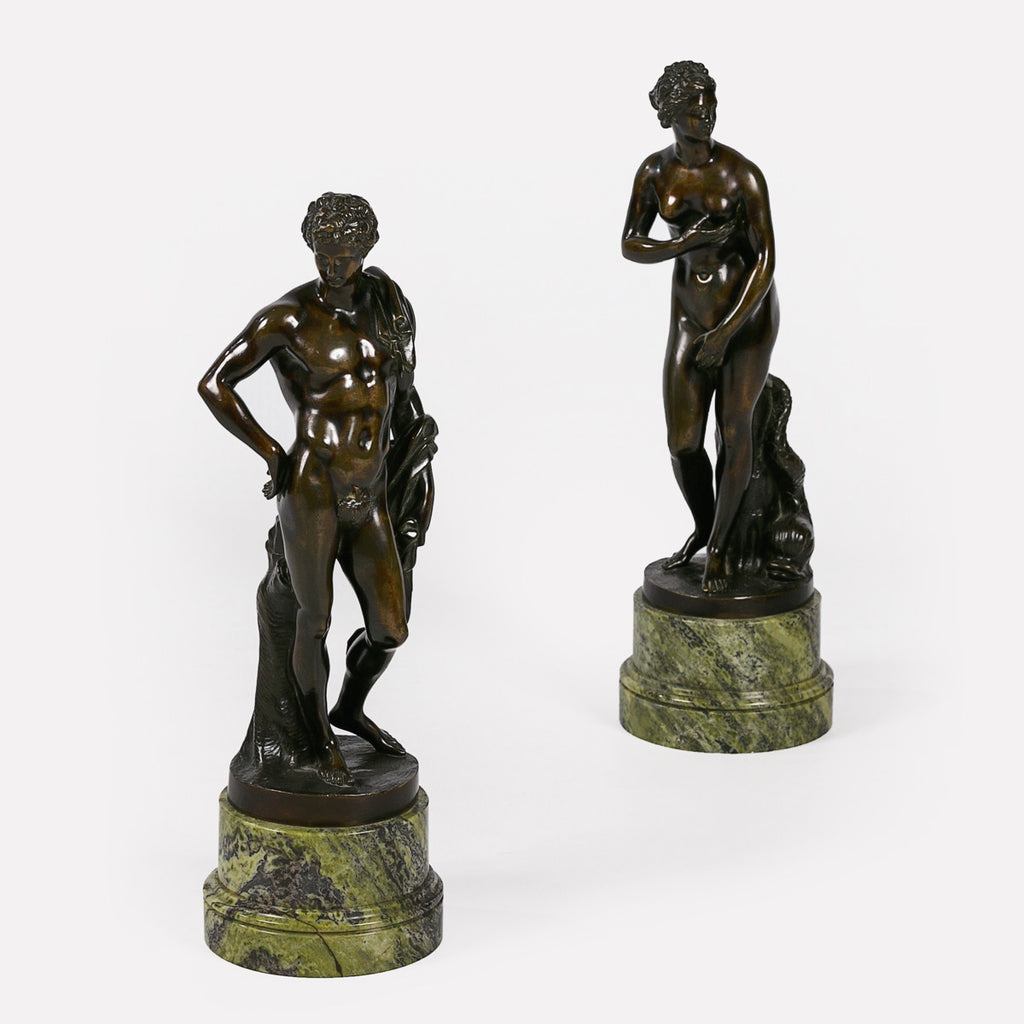 A STUNNING PAIR OF 19TH CENTURY ITALIAN PATINATED BRONZE FIGURES - REF No. 1061