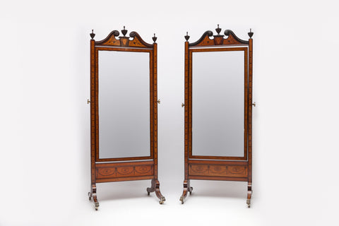 A STUNNING PAIR OF 19TH CENTURY CHEVAL MIRRORS IN THE MANNER OF WILLIAM MOORE - REF No. 6009