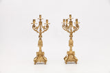 A PAIR OF 19TH CENTURY GILT METAL FIVE BRANCH CANDELABRA - REF No.1001
