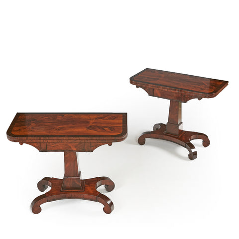 A VERY FINE PAIR OF WILLIAM IV CARD TABLES - REF No. 9005