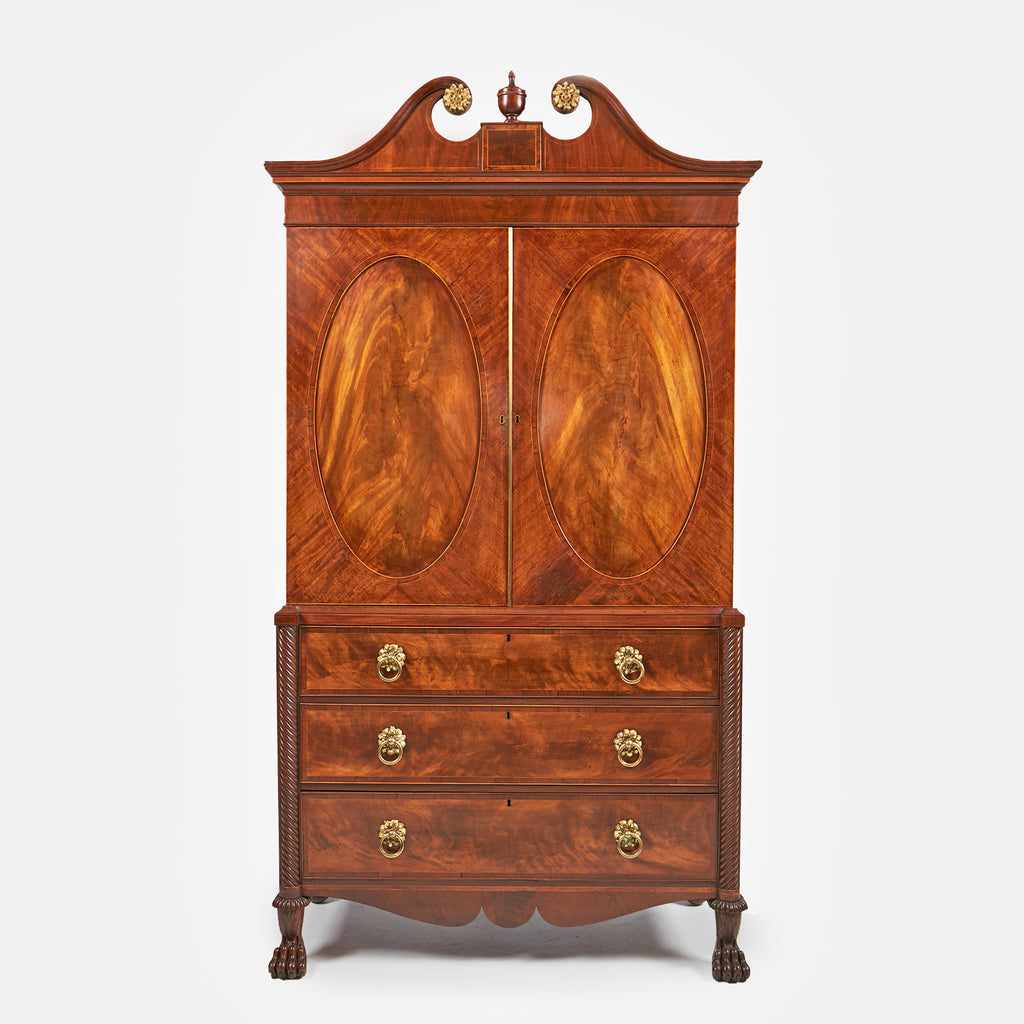 A MAGNIFICENT IRISH REGENCY MAHOGANY LINEN PRESS - REF No. 165