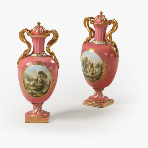 A FINE PAIR OF VASES BY COALPORT - REF No. 176