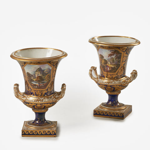 A SUPERB PAIR OF CROWN DERBY URNS - REF No. 177