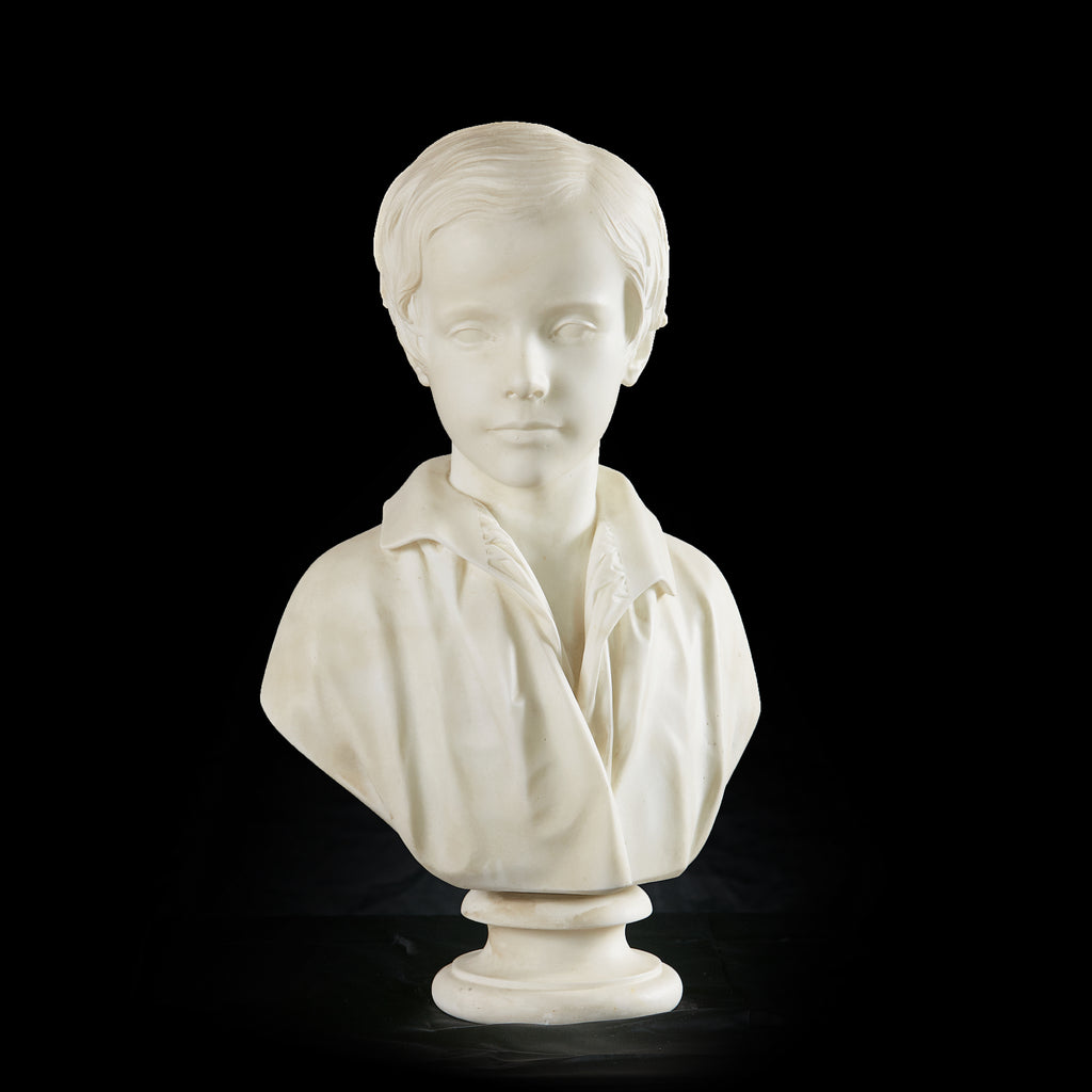 A VERY FINE 19TH CENTURY MARBLE BUST OF A BOY - REF No. 1061