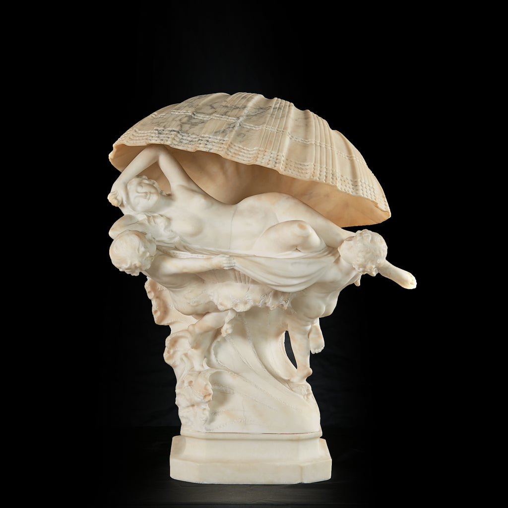 A SUPERB ALABASTER FIGURAL LAMP IN THE MANNER OF ANTONIO FRILLI - REF No.1006