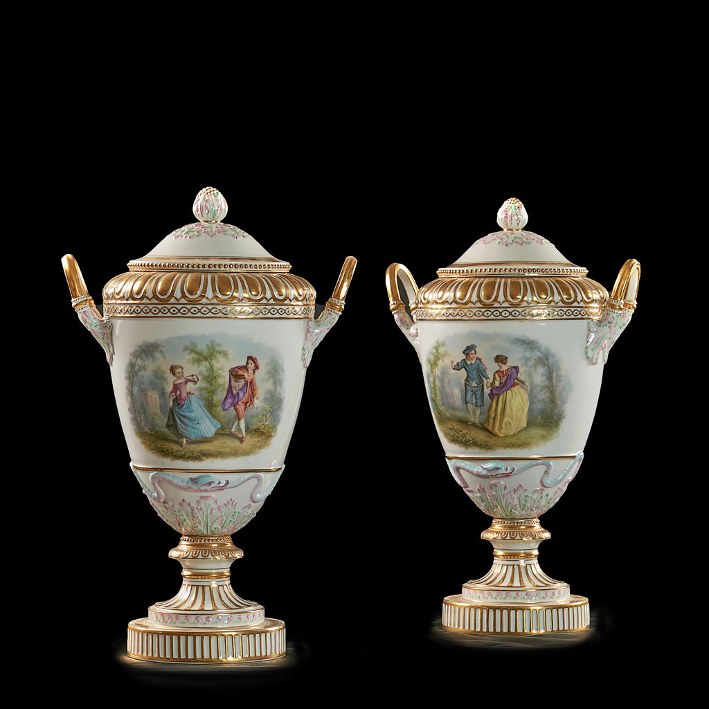 A PAIR OF KPM VASES & COVERS - REF No. 179