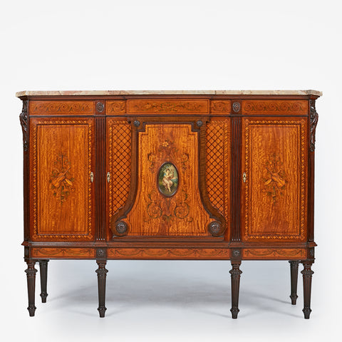 A MAGNIFICENT SATINWOOD PAINTED DEMI-LUNE SIDE CABINET - REF No. 4036