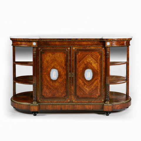A MAGNIFICENT 19TH CENTURY INLAID AND MAPLE WOOD CREDENZA BY WILKINSONS & SONS, BOND STREET, LONDON - REF No. 4002
