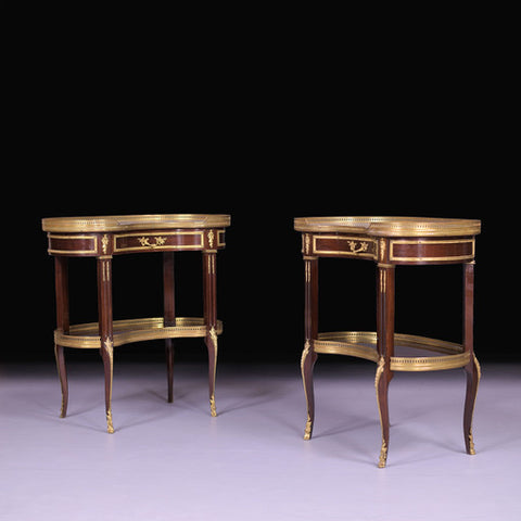A PAIR OF LATE 19TH CENTURY KIDNEY SHAPED TABLES - REF No. 9054