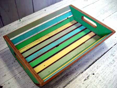 "FN003 // Recycled wood Tray with Handles 14""x10""x3"""