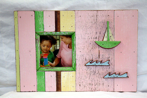 HN031 Pink // Sailboat Single Picture Frame 4x4