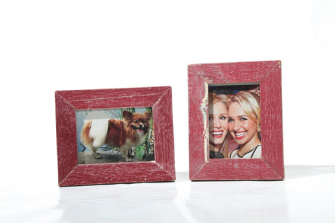 "Recycled Wood Red Zing 2""x3"" Wallet Frame (set of 2)"