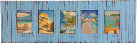 SN 222 // Sky Blue Beach Style 5 Picture Frame (4x6)