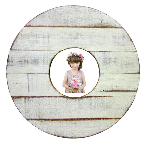 SN 230 White // Single Round single picture frame 5X5