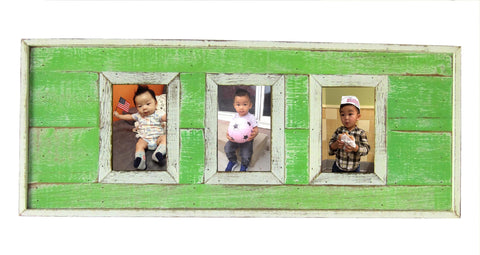"SN 299 Mint Green // Triple picture frame  4""x6"""