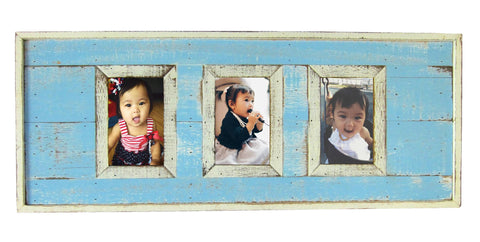 "SN 299 Sky Blue // Triple picture frame  4""x6"""