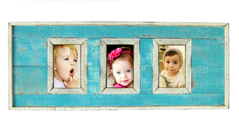 "SN 299 Turquoise // Triple picture frame  4""x6"""